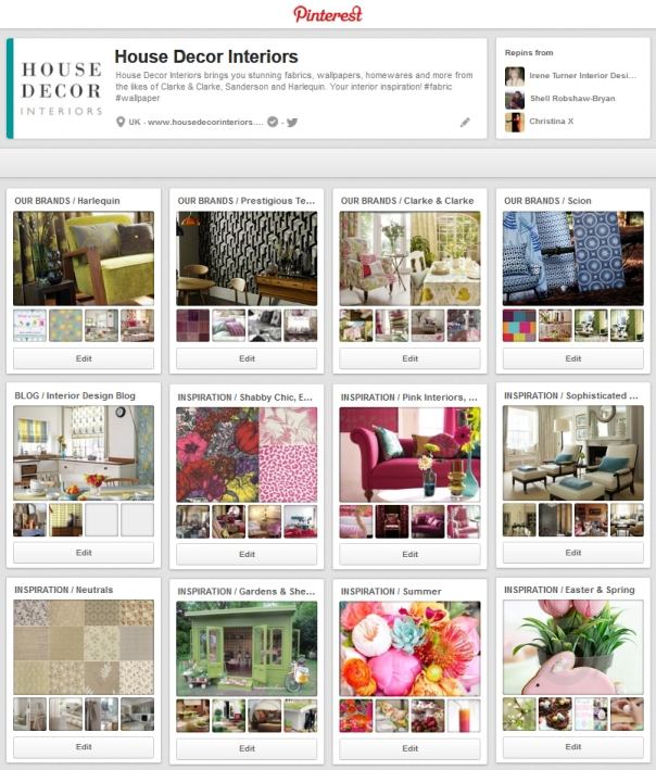 optimised Pinterest board