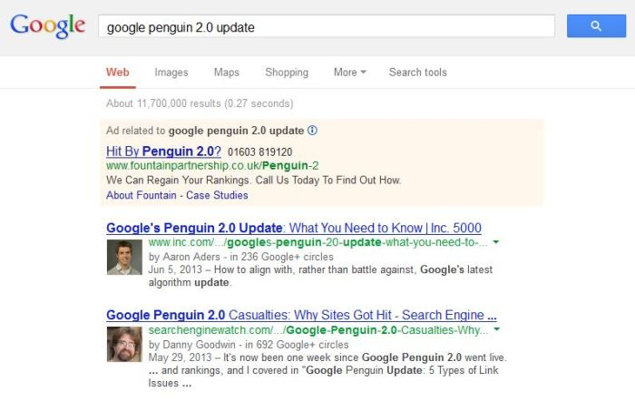 google penguin update screen grab